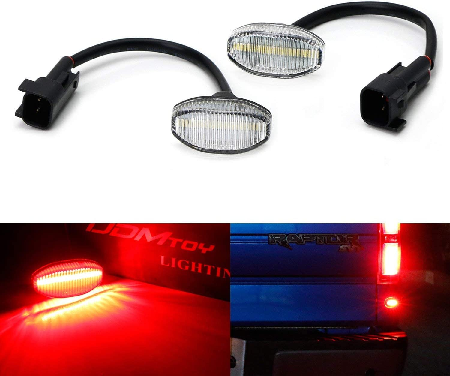iJDMTOY Clear Lens Red Full LED Rear Below Taillight Side Marker Light Kit Compatible With 2010-14 Ford Raptor Powered by 12-SMD LED Replace OEM Back Sidemarker Lamps