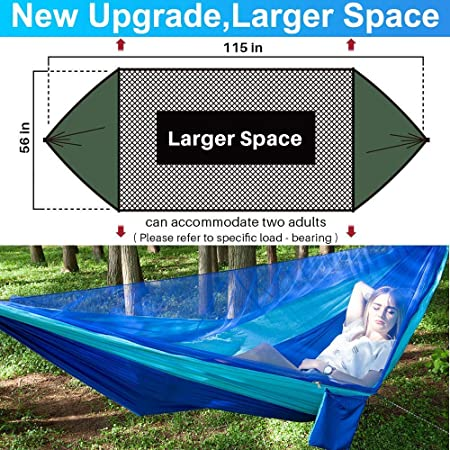 2019 Upgrade Camping Hammock with Mosquito Net for 2 Person Lightweight Double Hammock,Hold Up 660 lbs,Portable Hammocks for Indoor,Outdoor, Hiking,Camping,Travel,Backyard,Beach