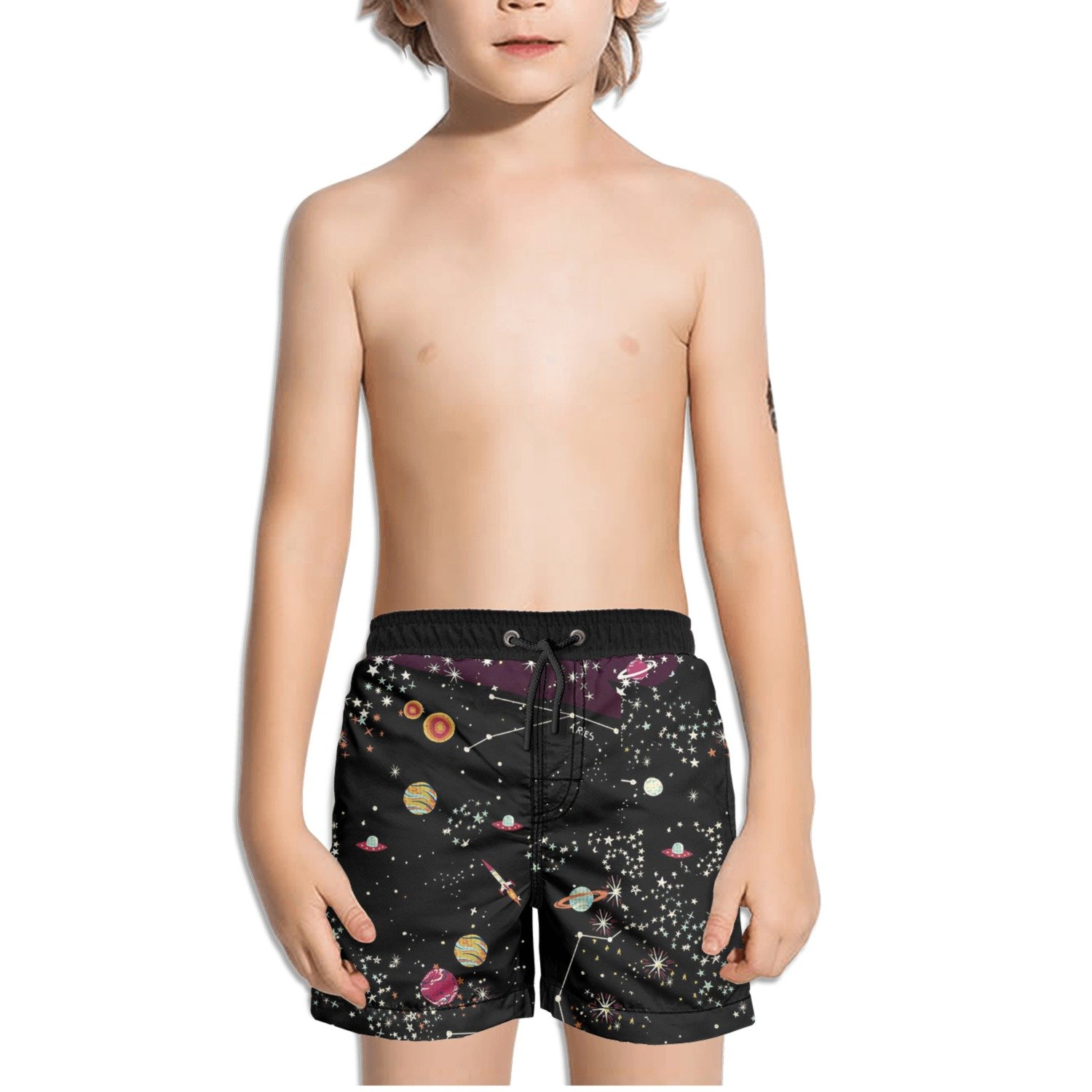Ouxioaz Boys Swim Trunk Space Stars Beach Board Shorts