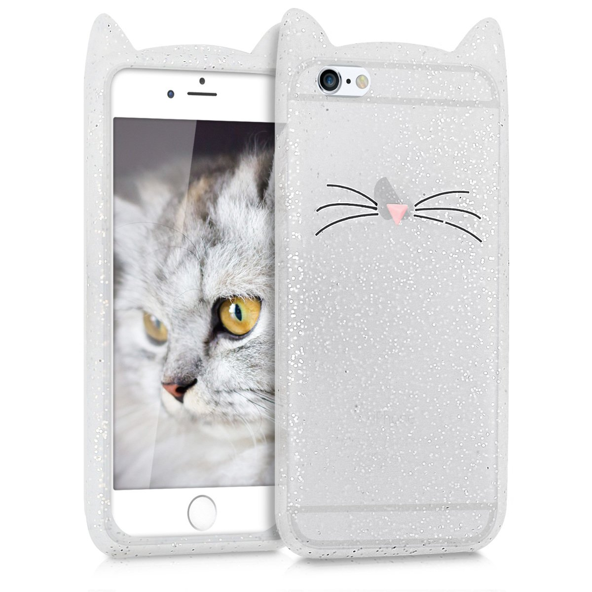 kwmobile Cat Silicone Case for Apple iPhone 6 / 6S - Soft Silicone Gel Protective Cover with Cute Design KW-Commerce 42763.01_m000242