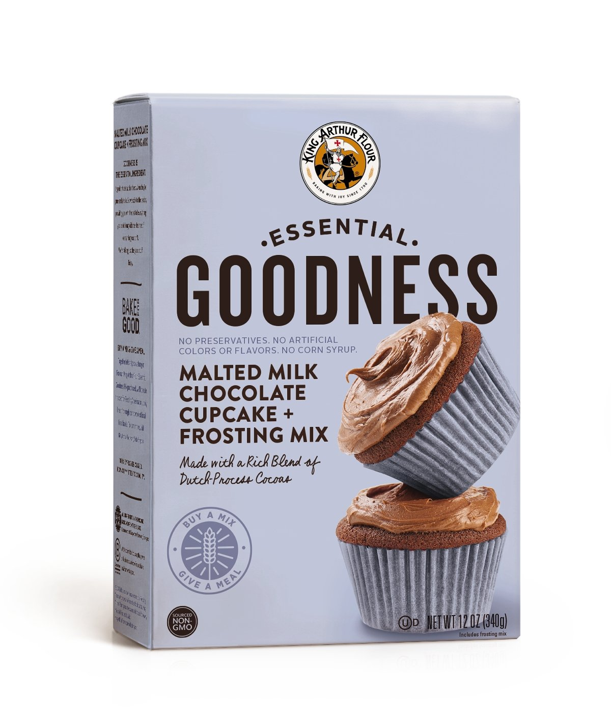 King Arthur Flour Essential Goodness Malted Milk Chocolate Cupcake Plus Frosting Mix, 12 Ounce