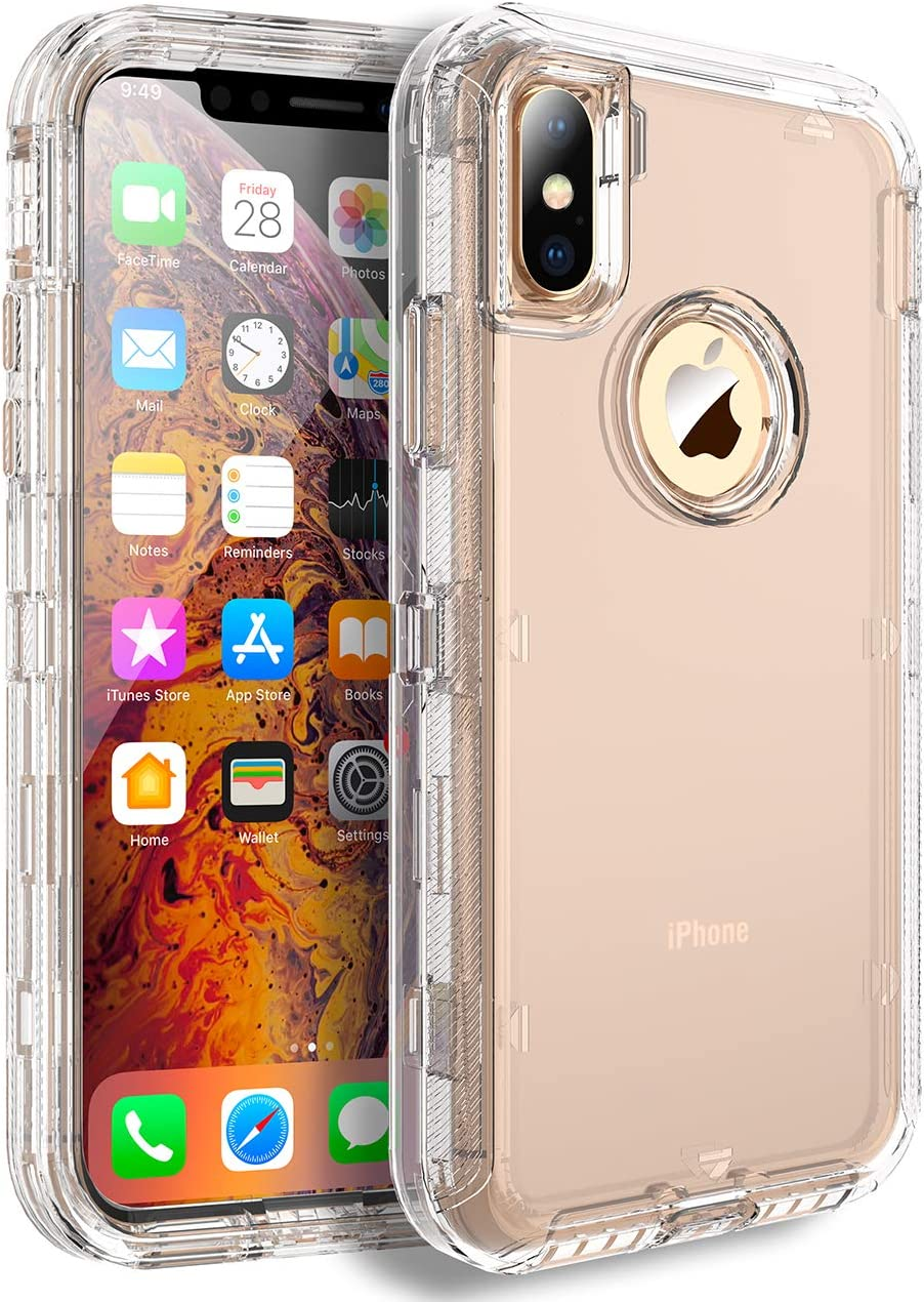 MXX iPhone Xs Case, Heavy Duty Defender Cover - Full Armor Body - Shockproof Protection Bumper - Built-in, 3 in1 Layers Hybrid TPU Rugged Rubber with Hard PC Panel Compatible with iPhone X - (Clear)