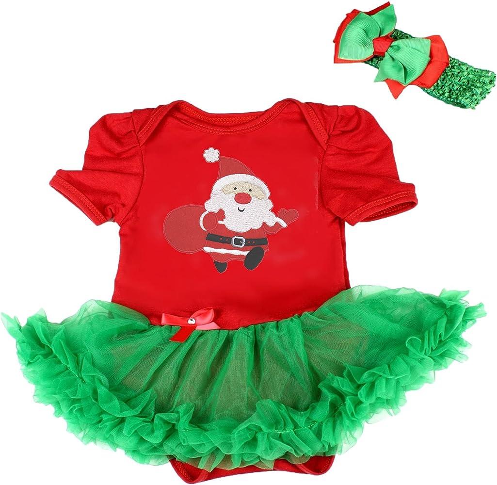 Vestido de Navidad de Papá Noel rojo body Verde tutú body ...