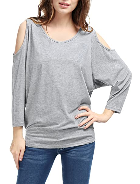 Allegra K Mujer Top Manga Murciélago Hombro Recortado Top Holgado Blusas Informal Camisetas - sintético,