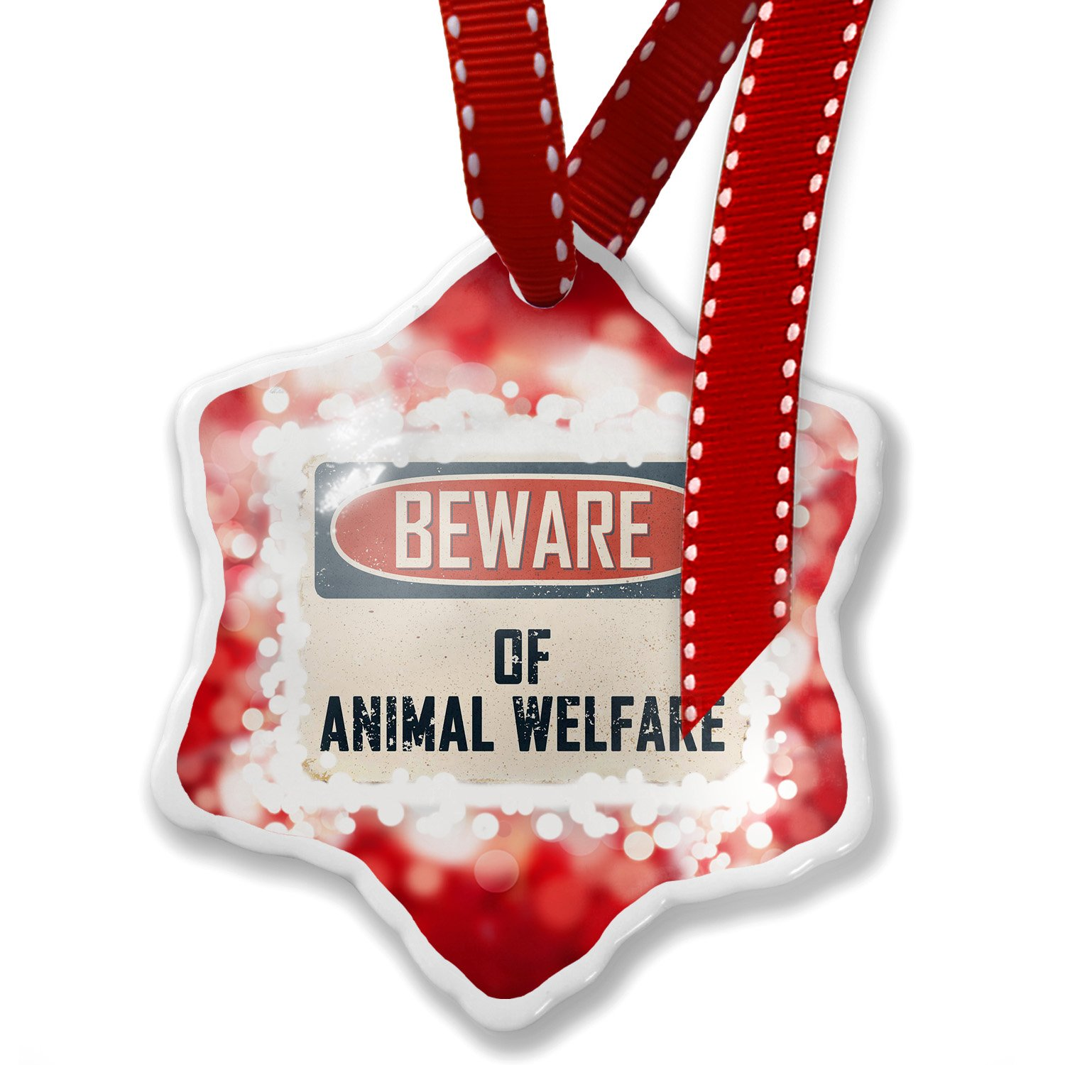 Christmas Ornament Beware Of Animal Welfare Vintage Funny Sign, red - Neonblond