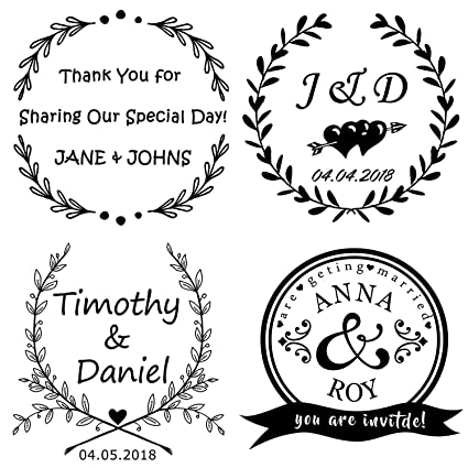 783c8e3a95 Custom Rubber Self Inking Stamp-Personalized Wedding Stamp,Use in Wedding  Invitations, Save The Dates, RSVP Cards (Medal)