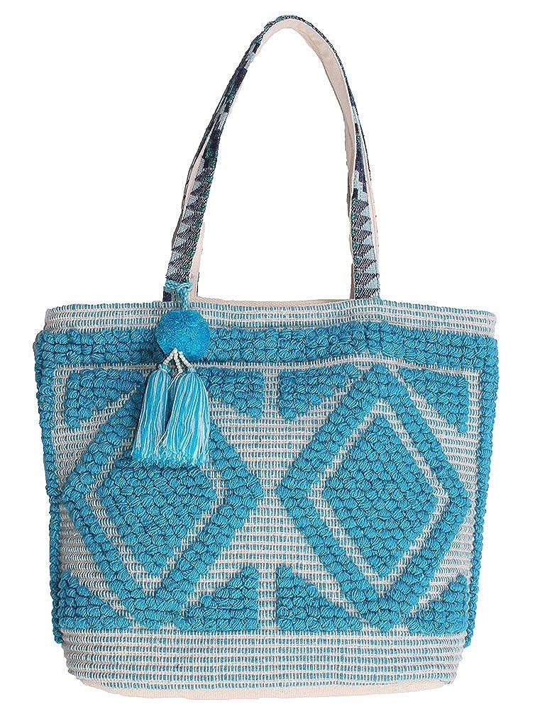 Magid Womens Diamond Macrame Tote Bag Turquoise