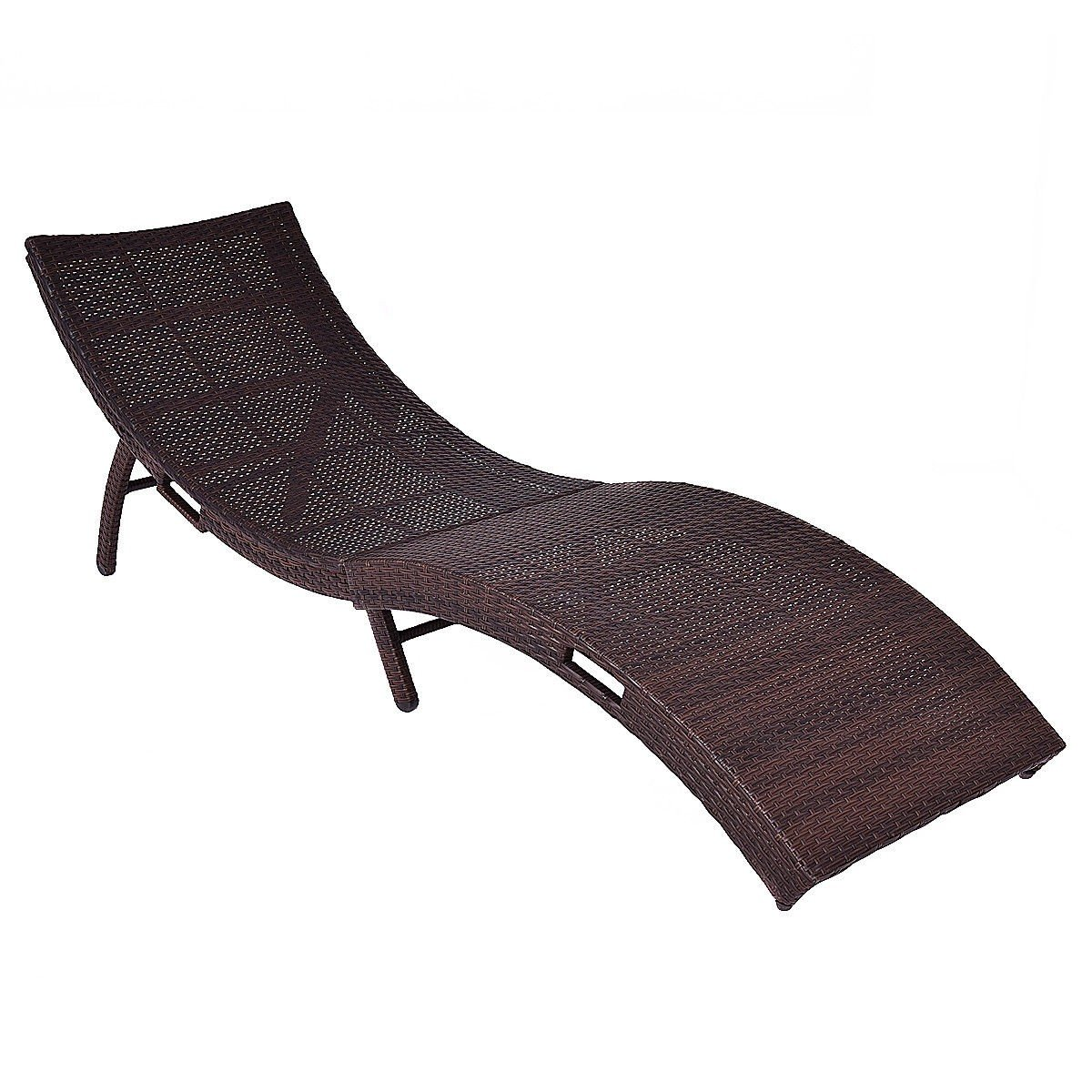 Amazon MyEasyShopping Mix Brown Folding Patio Rattan Chaise Lounge Antique Fainting Couch Sofa Style Vintage French Garden Outdoor