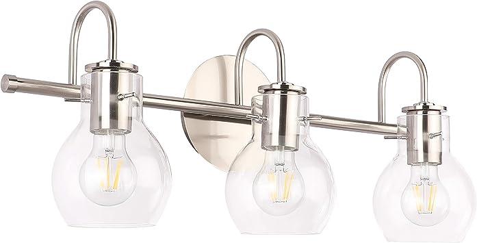 Solfart Brushed Nickel Bathroom Lighting Fixtures Over Mirror Modern Glass Shade Vanity Lights Wall Sconce 3 Lights Amazon Com