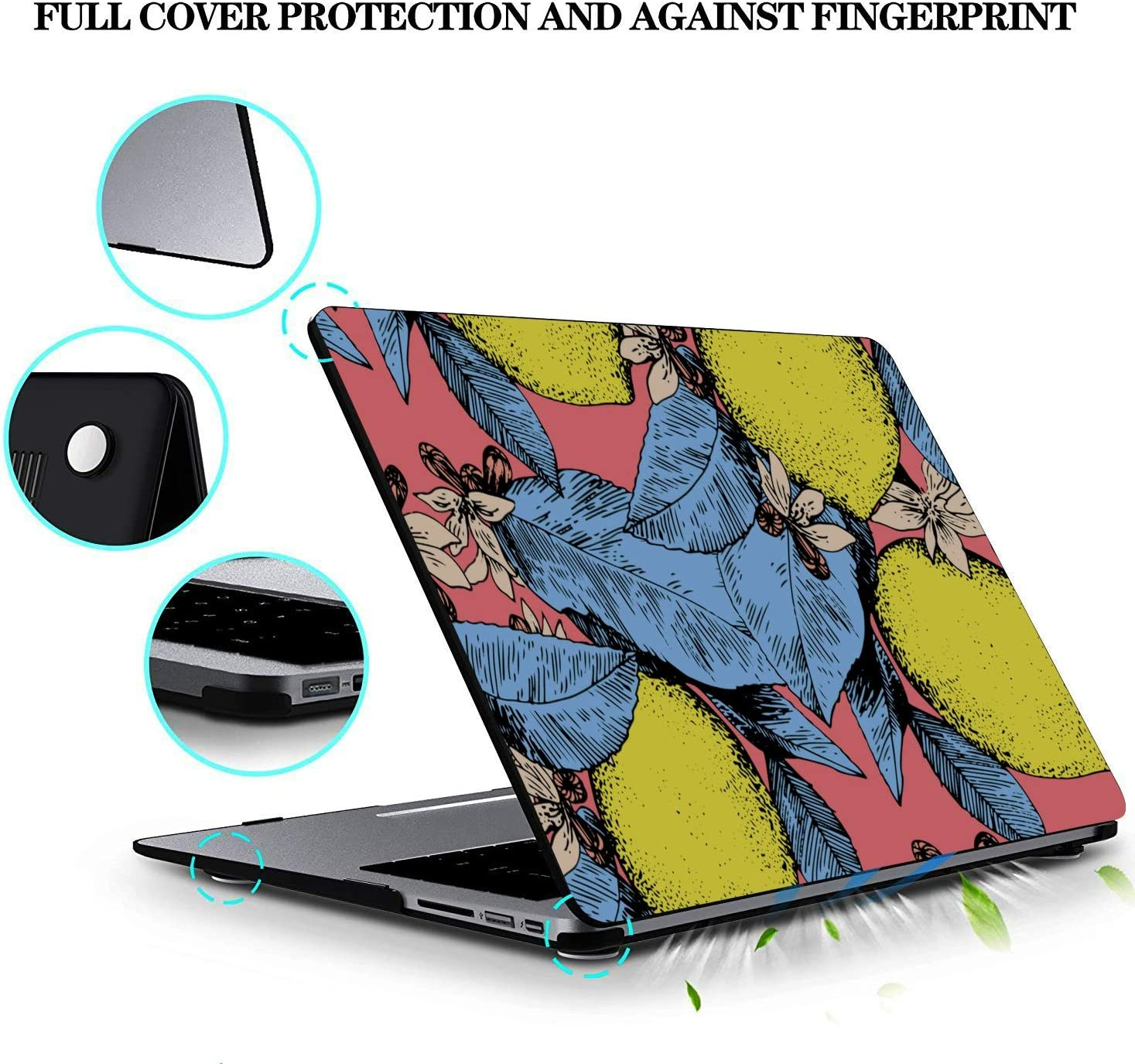 MacBook Air 13 Accessories Summer Fashion Flower Fruit Lemon Plastic Hard Shell Compatible Mac Air 11 Pro 13 15 MacBook Pro 13 Cases Protection for MacBook 2016-2019 Version