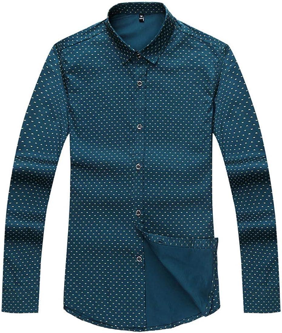 HiliZ Men Long Sleeve Classic Version Graphic Print Leisure Cotton Plus-Size Shirt