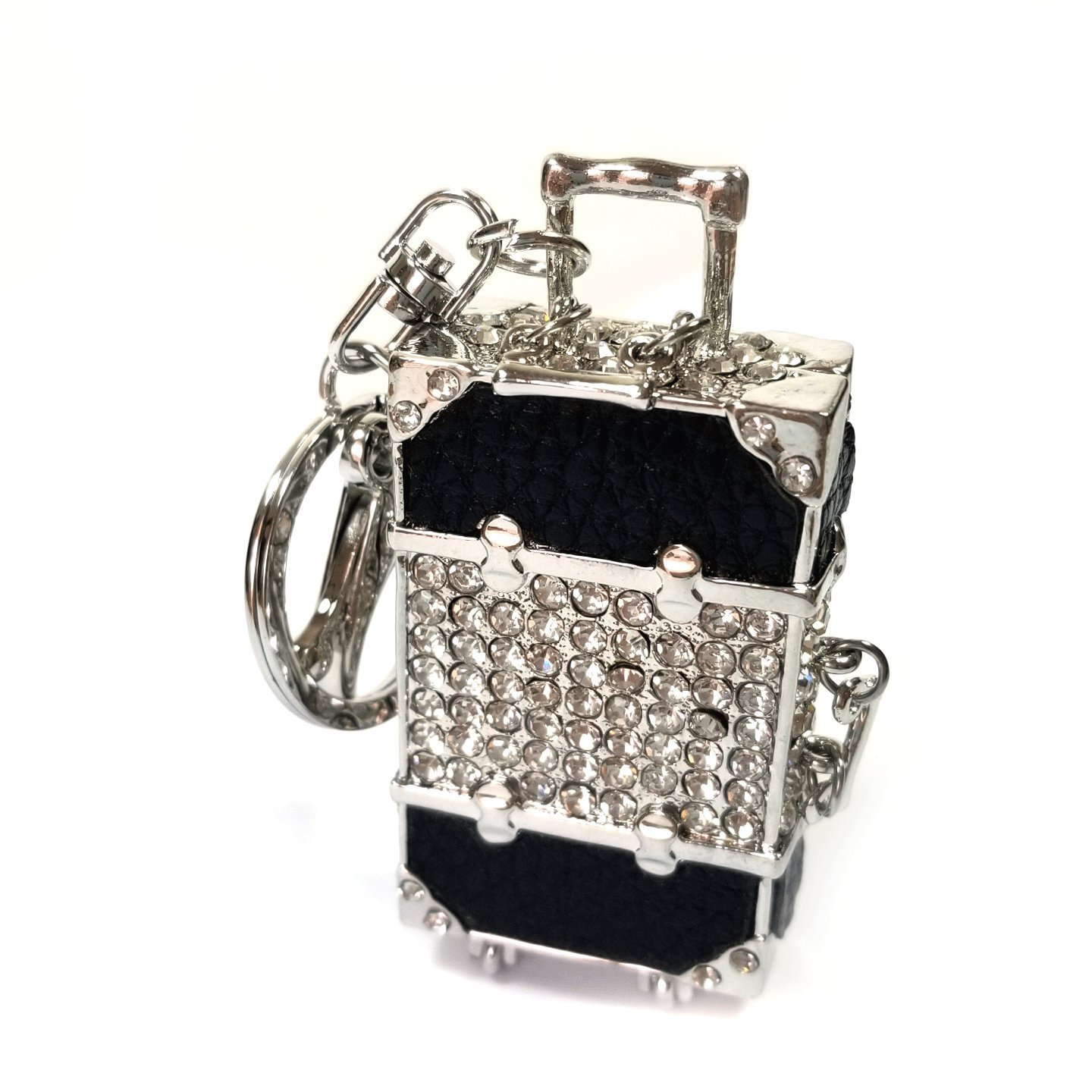 Teri's Boutique Travel Luggage Roller Bag Rhinestone Luxury Charm Pendant Car Keychain (Black)