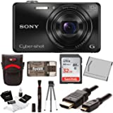 Sony Cyber-shot DSC-WX220 18.2 MP Digital Camera with 2.7-Inch LCD (Black) with Sony 32GB and Accessory Bundle