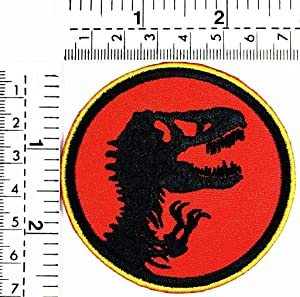 Red King Dinosaur Patch T rex Cartoon Logo Cartoon TV Comic Logo Super Hero Embroidered Iron on Patch Patch Sew/Iron on Embroidered Sign Badge Costume Applique for Clothes Jeans Accessories