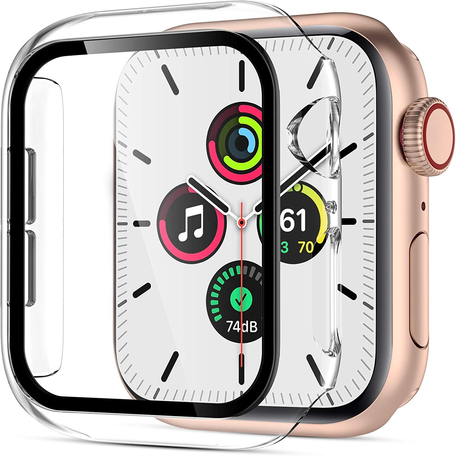 GEAK Compatible with Apple Watch Case 40mm Series 4 with Screen Protector, High Touch Screen Sensitivity Full Coverage Defense Edge Hard Case for iWatch Series 6/5/ 40mm Clear