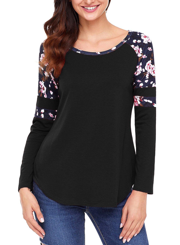 a4da2e3090 Dearlove Womens Floral Varsity Stripe Long Sleeve Top O-Neck Ladies Casual T -Shirt Top UK Size 6-22: Amazon.co.uk: Clothing