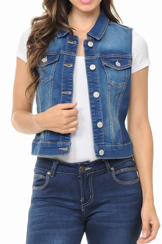 LoveInStyle Sleeveless Button up Jean Denim Jacket Vest