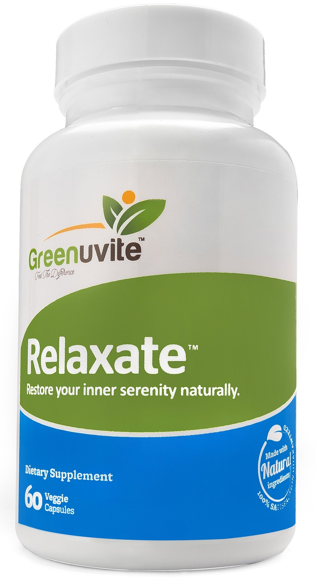 Greenuvite Natural Anxiety, Stress & Panic Relief Supplement, Mood Booster - Contains Inositol, Passionflower, Lemon balm Calcium Ashwagandha & Magnesium. 60 Veggie Capsules