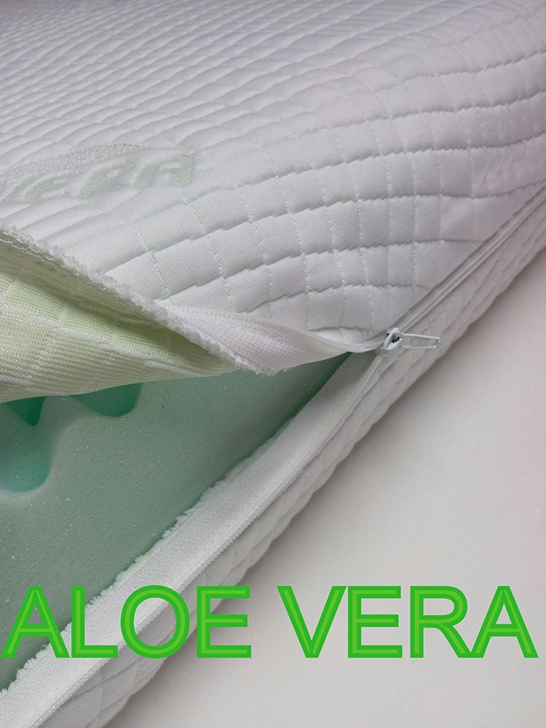 'Single Bed Mattress Cover 80 x 190, Variable Height with 4 Zipper Sides, Removable & Washable, Aloe Vera, Non-Allergenic, Breathable Replacement Orthopaedic Hypoallergenic and Dust Mite, Machine Washable,. The Case That Covers The Must Be Easily Remo