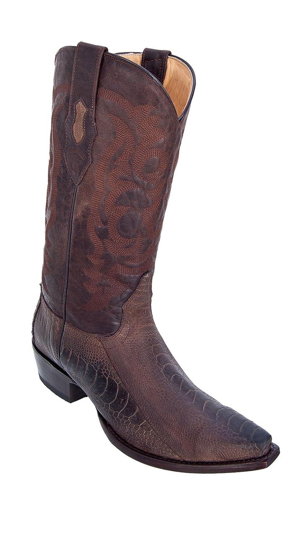 Men's Sinp Toe Genuine Leather Ostrich Leg Skin Western