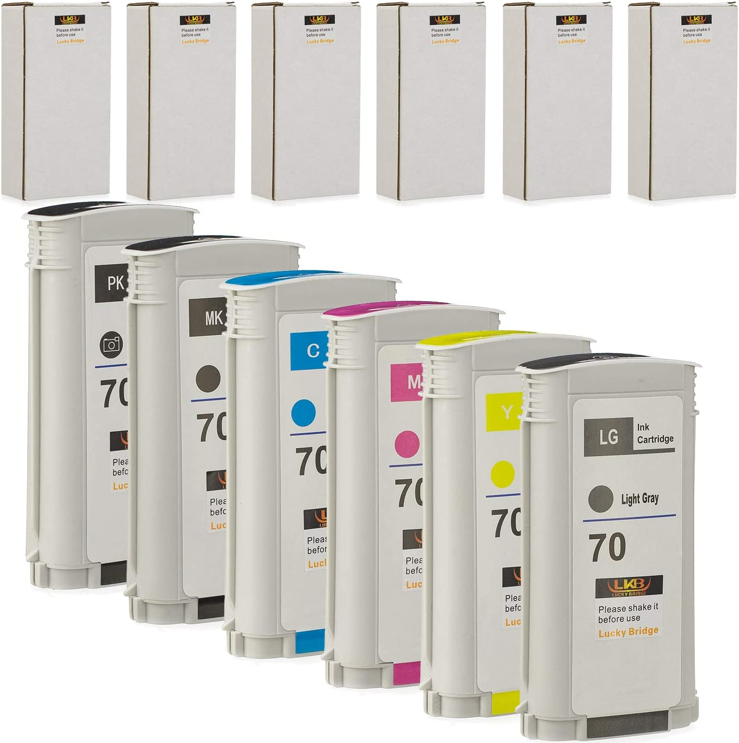 LKB 6PK Compatible HP70 Ink Cartridge Replacement with 130ML Use with HP Designjet Z2100 Z5200 Z3200 Z3100 Z5400 (6 Pack HP70) –US