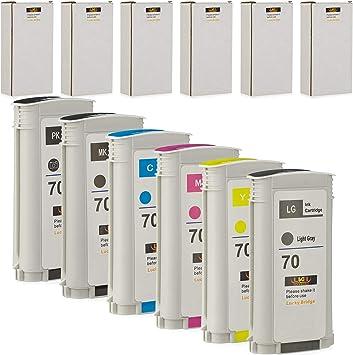 LKB 6PK Cartucho de Tinta Compatible HP70 con 130 ML Uso con HP Designjet Z2100 Z5200 Z3200 Z3100 Z5400 (6 Pack HP70): Amazon.es: Electrónica