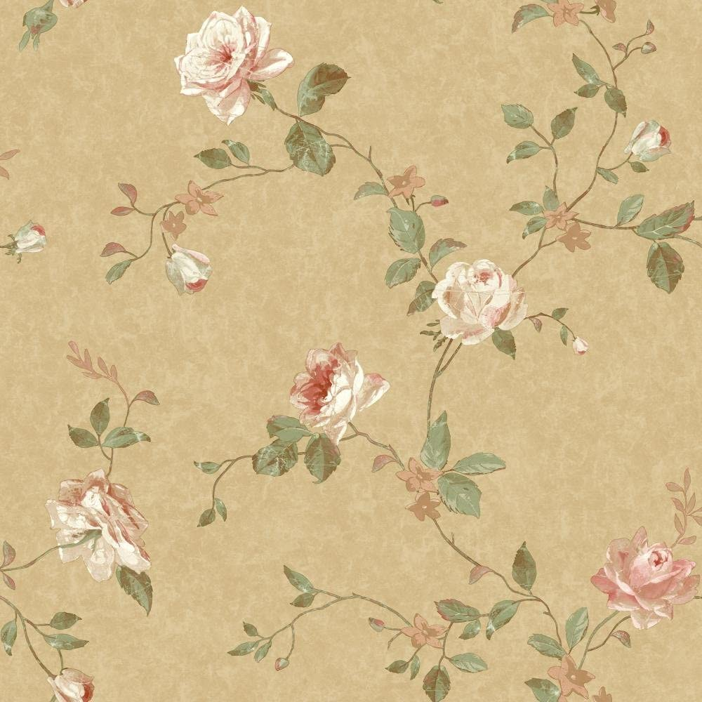 York Wallcoverings Sh5513 Vintage Luxe Floral Trail Wallpaper