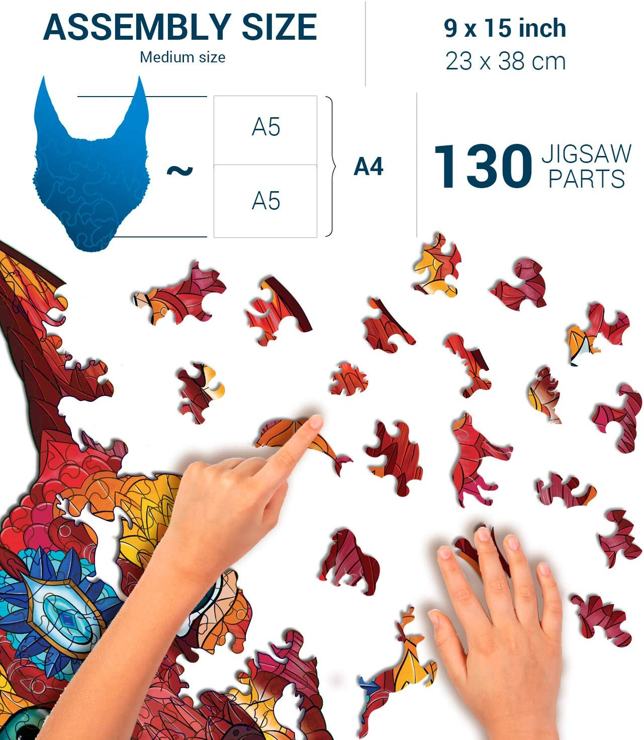 23x38 cm Size Beginner Level 130 pcs Caracal L Teens Adult Family; Majestic Animal Shaped Natural Wood Puzzle 9x14.1 in. Animal Wooden Jigsaw Puzzles for Kids Hodslen Woods 10+ Years