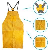 Houseables Leather Blacksmith Apron, Fire Resistant Welding/Welder Smock, 24 x 42 Inch, Tan, Large, 2 Pockets, X Strap, Kevlar Stitching, Accessory For Blacksmithing, Carpentry, Torch Work, Roofing