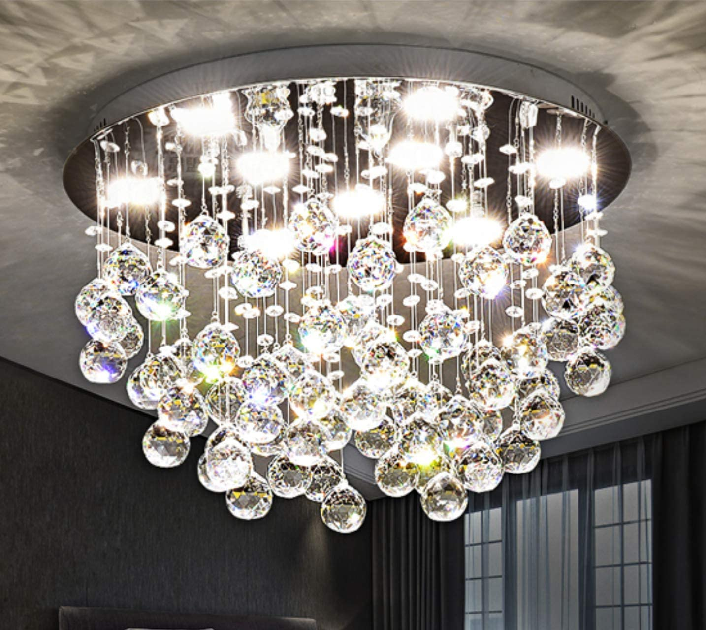 Saint Mossi Modern K9 Crystal Chandelier Lighting Flush Mount LED Ceiling Light Fixture Pendant Chandelier for Livingroom 9 GU10 Bulbs Required Width 20 inch x Height 13 inch