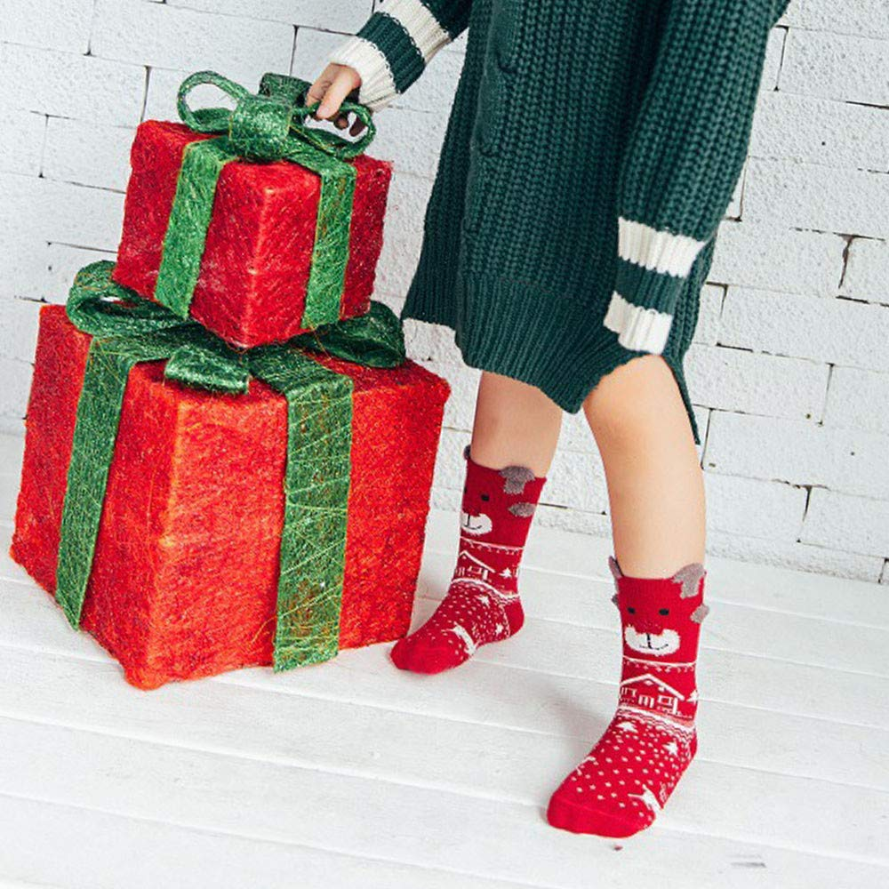 Christmas Crew Socks Clearance, Forthery Kids Girls 3 Pairs Fun Colorful Festive Socks Gift at Amazon Womens Clothing store: