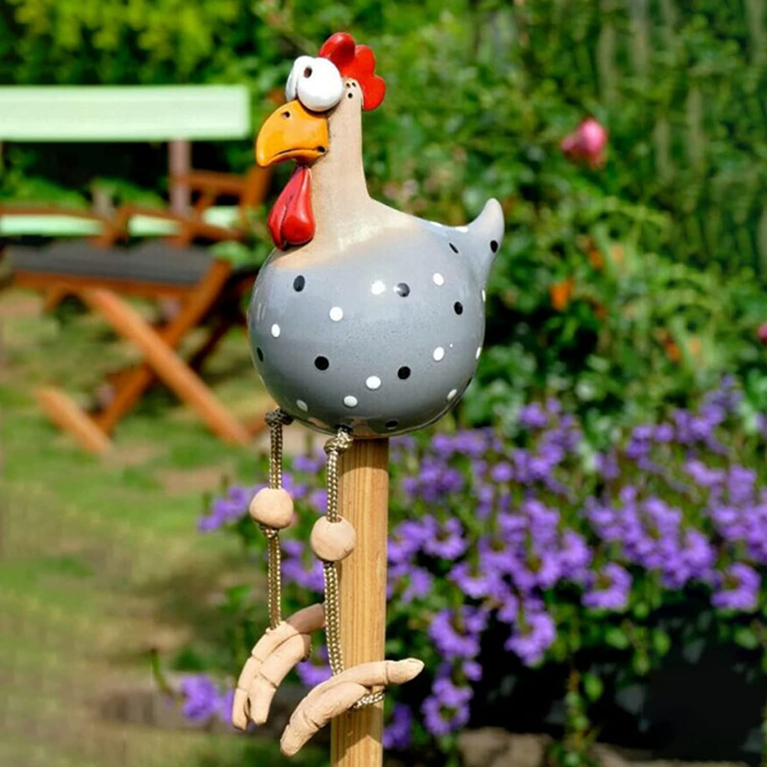 Funny Chicken Decor Yard Art, Resin Rooster Outdoor Statues Decorative Garden Stakes Resin Chicken Outdoor Statues Garden Animals Decor Farm Patio Yard Lawn Decoration Sculptures (Blue Grey)