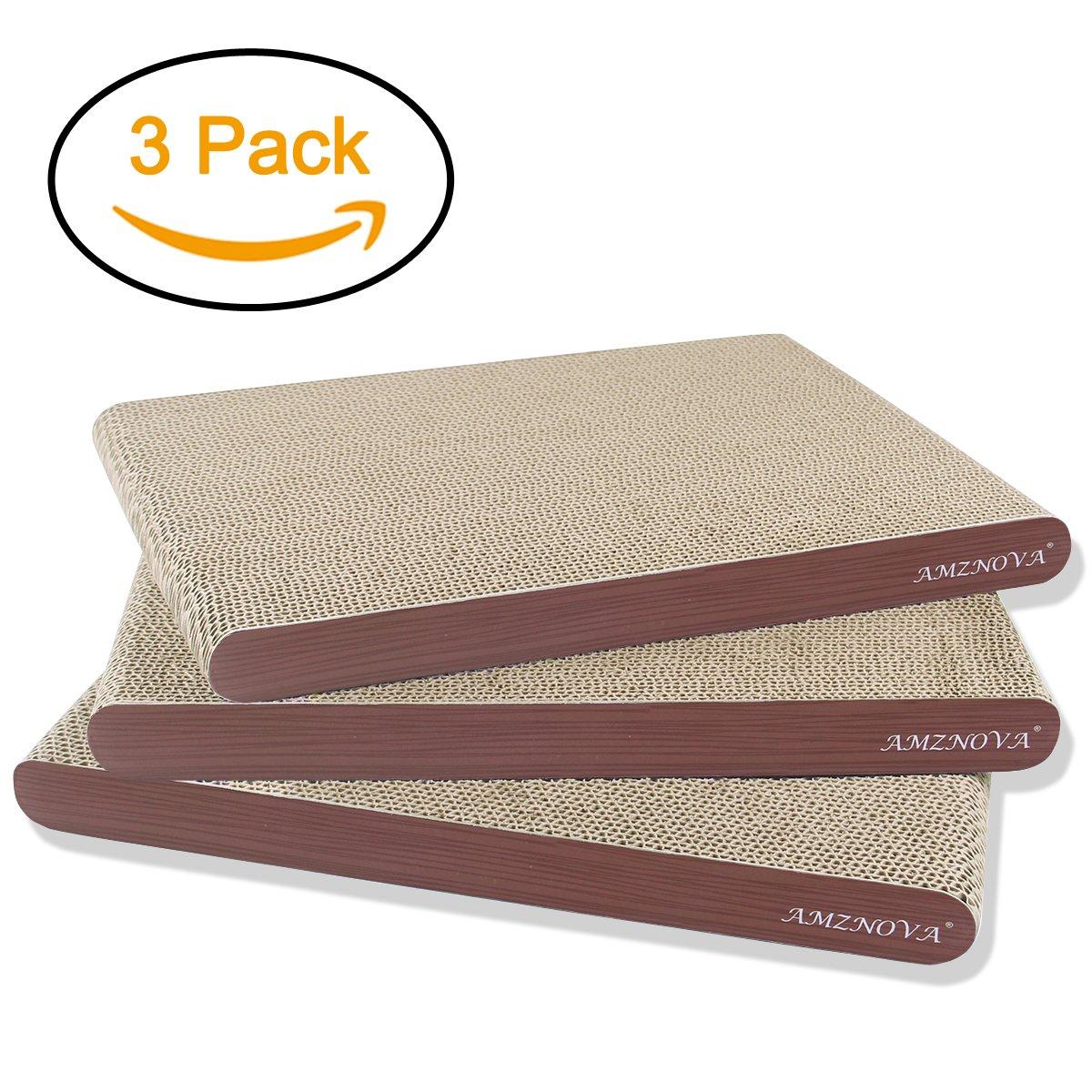 AMZNOVA Cat Scratcher Cardboard Scratching Pads Scratch Lounge Sofa Bed, Wide, Wood Floor Print, 3 Pack