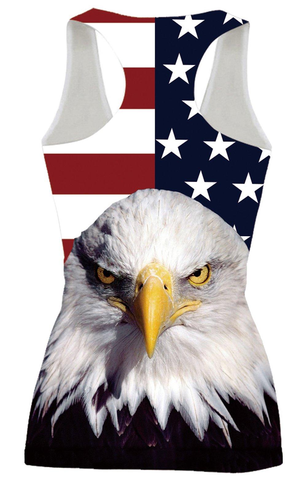 Leapparel Women\'s American Flag Eagle Printed Funny Humor Racerback Tank Top Vest Shirts S