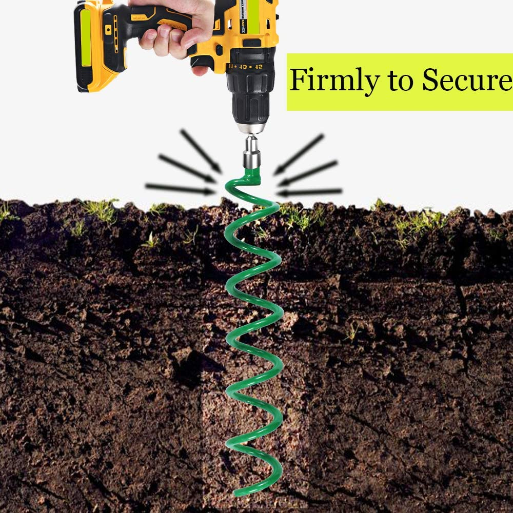 Securing Trampolines Garden Fence Sheds Swings Lauyeboho 4 Pcs 18 Inch Spiral Ground Anchors Kit Green Metal Ground Anchors Spiraling Anchor Trampoline Anchors for Tent
