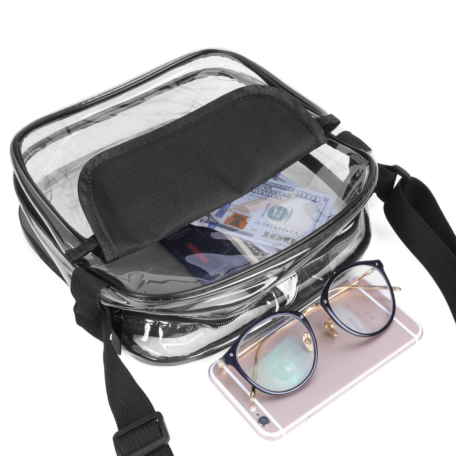 XquiziFit Clear Crossbody Bag NFL Stadium Approved Clear Bag with Adjustable Shoulder Strap and Wrist Strap for Work, Sports Games and Concert