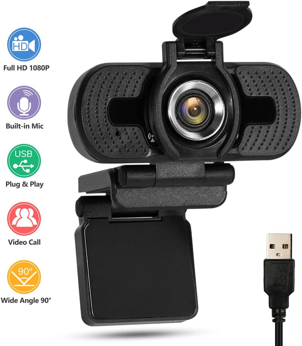 Girovo 2020 Full HD 1080P Webcam with Microphone and Privacy Cover, 90°Wide-Angle View, Fixed Focus USB Camera Plug and Play for PC/Mac Laptop/Desktop Video Calling Recording Conferencing