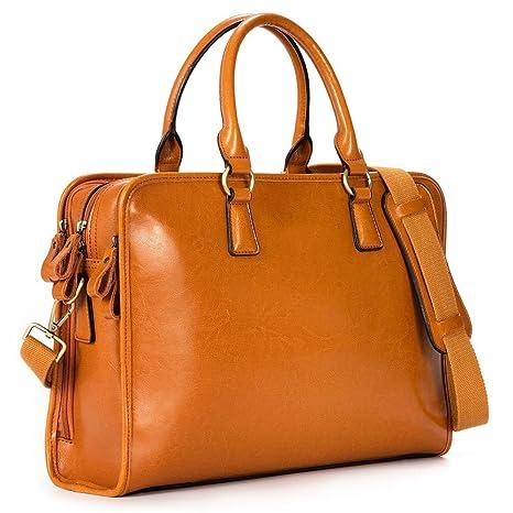 a91c3fb5dc9f9 Kattee Damen Leder Aktentasche Messenger Bag 14 quot  Laptop Handtasche ...