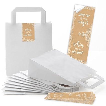 25 pequeñas blancas bolsas papel de regalo bolsillos con ...