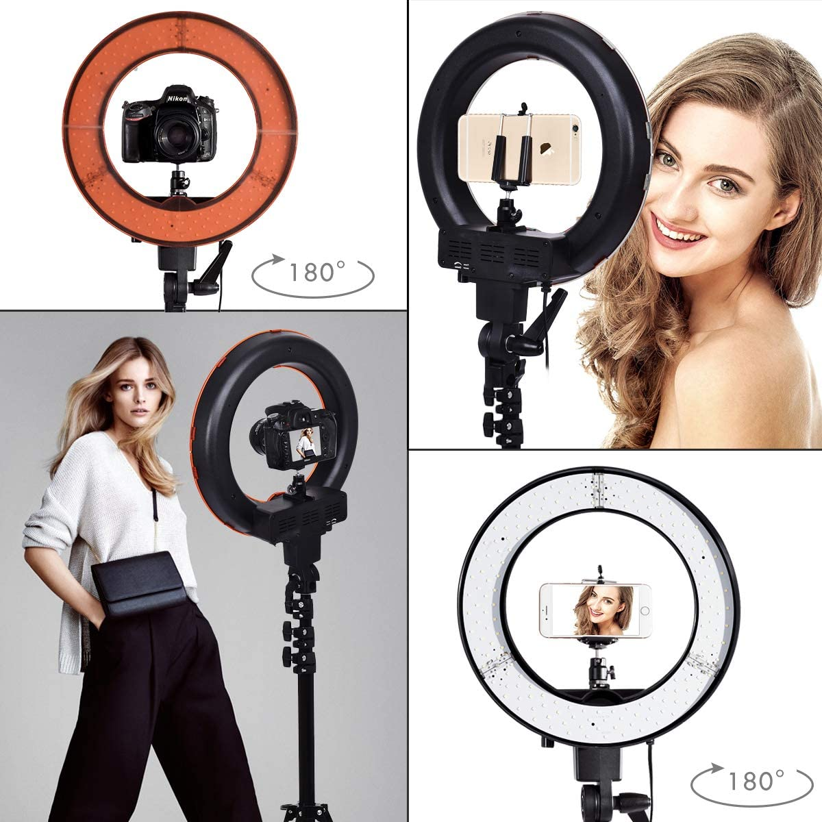 Safstar 12 LED Ring Light Flash Video Light 35W 5600K Dimmable with Stand Plastic Color Filter Set Carrying Case for Smartphone Vine Self-Portrait Video Shooting YouTube