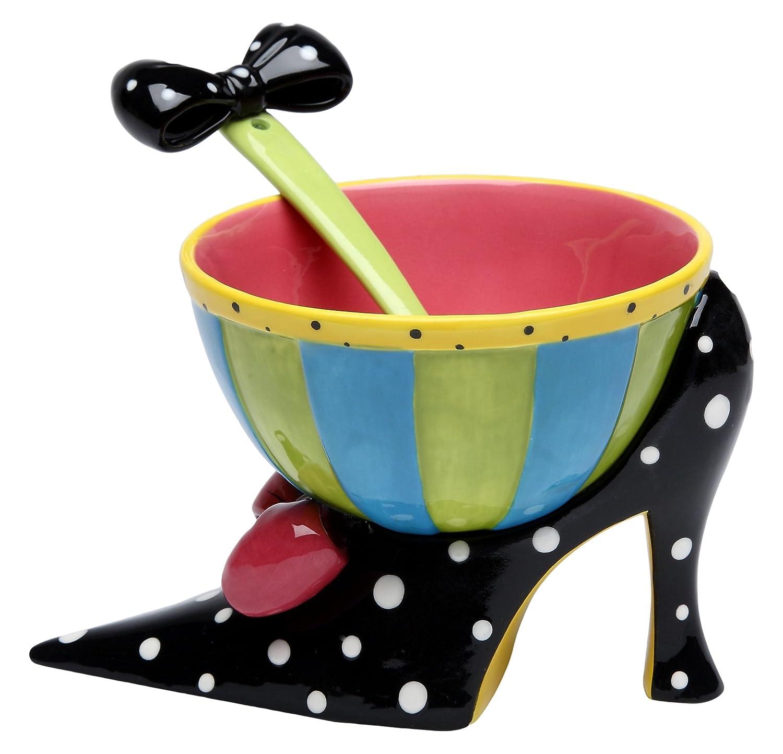 StealStreet SS-CG-62654, 6.38 Inch Black Polka Dot Heel Ice Cream Bowl with Spoon Holds 5.5 Oz