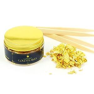 Edible Genuine Gold Leaf Flakes - by Barnabas Blattgold - 150mg Jar