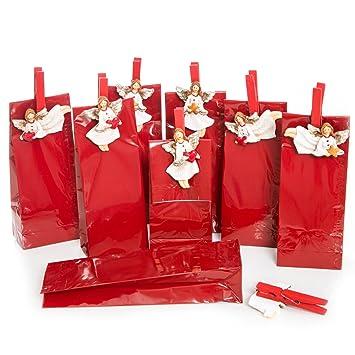 16 Kleine Verpackung Rot Weihnachten Weiß Herz Engel