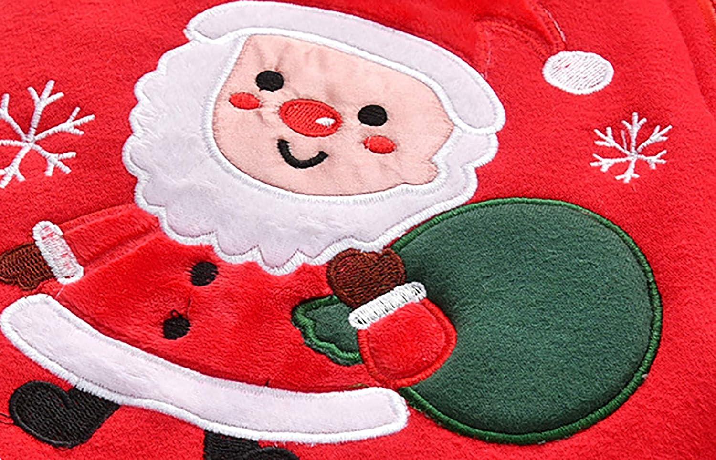 fpengfashion Natale Neonato Bambina Natale Alce Cervo Inverno Pagliaccetto Spesso Tuta Felpa con Cappuccio Abito in Pile Regalo di Natale Tutina Body