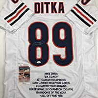 $124 » Autographed/Signed Mike Ditka Chicago White Stat Football Jersey JSA COA