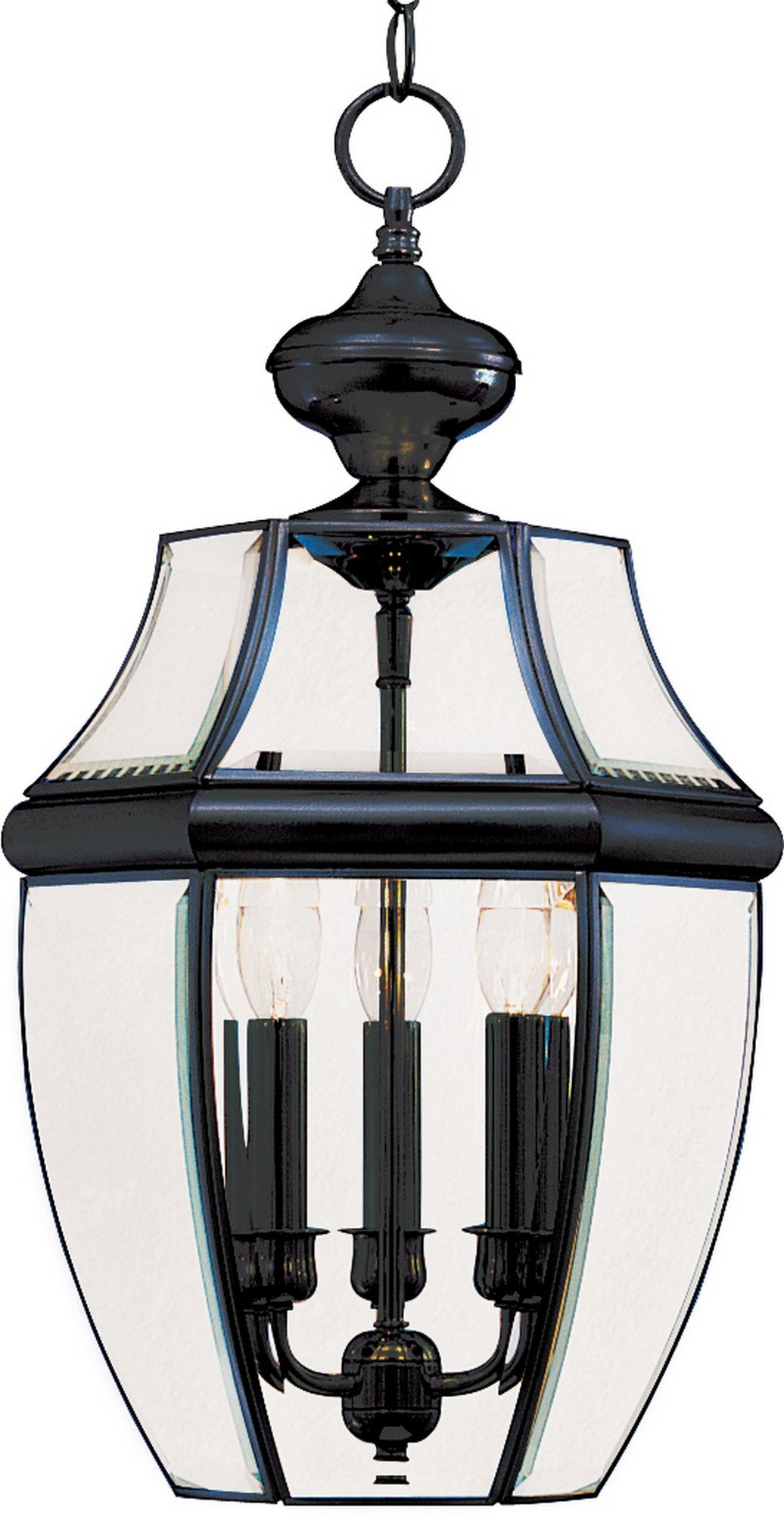 Maxim 6095CLBK South Park 3-Light Outdoor Hanging Lantern, Black Finish, Clear Glass, CA Incandescent Incandescent Bulb , 60W Max., Dry Safety Rating, Standard Dimmable, Fabric Shade Material, 2016 Rated Lumens