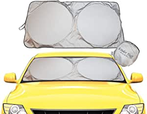 kinder Fluff Windshield Sun Shade -Luxurious 210T Fabric in The Market Maximum UV Sun Protection -Foldable Sunshade car Windshield Will Keep Your car Cooler- Windshield Sunshade (Large)