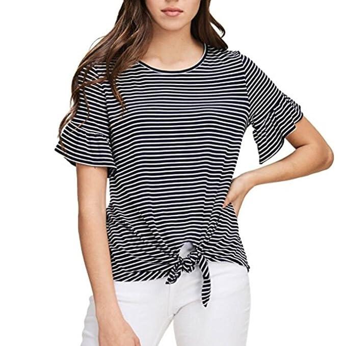 ASHOP Camisetas Muje, Camisetas Manga Corta EN Oferta Suelto Tops Blusas de Mujer Elegantes de Fiesta Baratas Rayas O Cuello T-Shirt Moda 2018: Amazon.es: ...