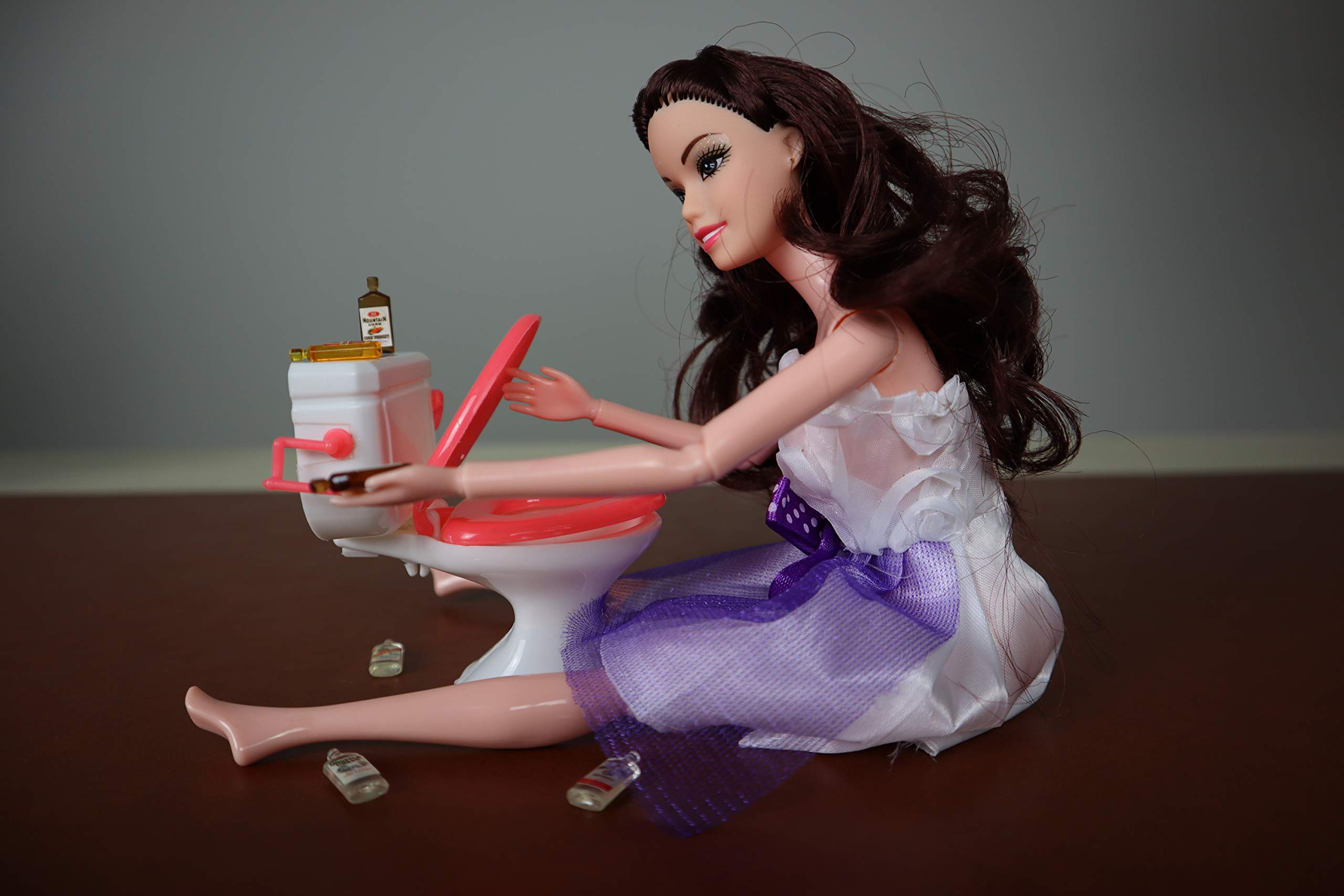 Drunk Doll Cake Topper Funny | Decoration Kit for Celebrating a Bachelorette Party or any Birthday 21 and Up (8 Piece Set)(Not Edible)(Barbie-like Brunette)