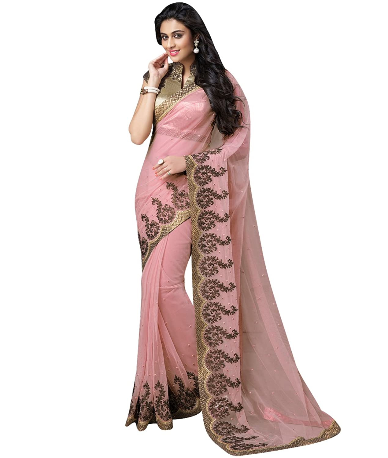 Indian Ethnic Bollywood Wedding Net Pink Fancy Saree